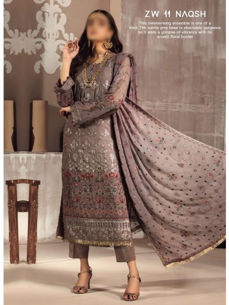 ZARIF Mah e Gul Wedding Wear Unstitched Chiffon Collection D-ZW 11 NAQSH