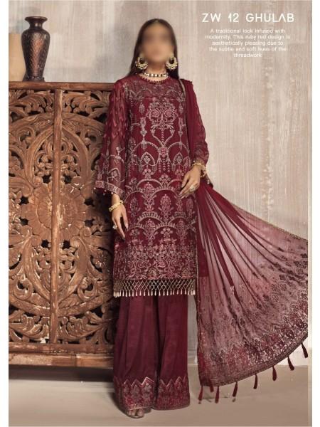 ZARIF Mah e Gul Wedding Wear Unstitched Chiffon Collection D-ZW 12 GHULAB