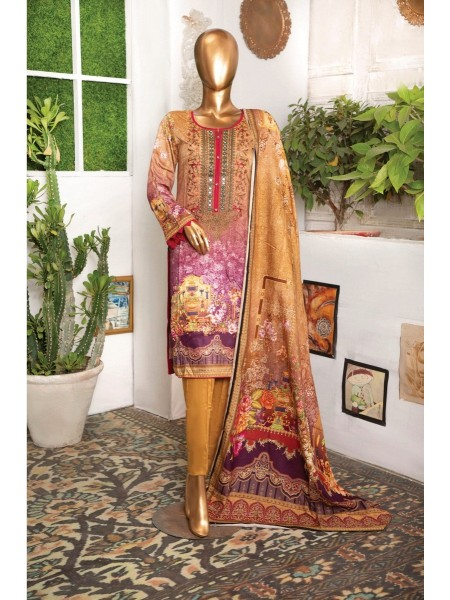 BIN HASNAIN Unstitched Chambeli Qutail With Mirror Art D-01