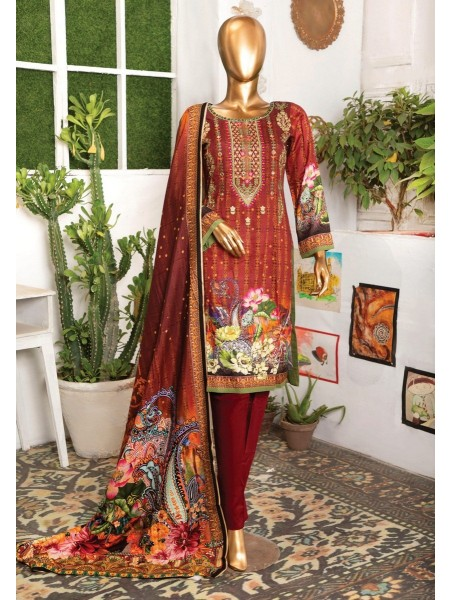 BIN HASNAIN Unstitched Chambeli Qutail With Mirror Art D-05