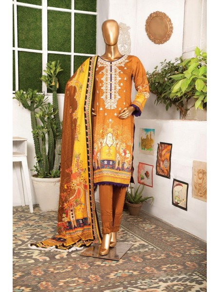 BIN HASNAIN Unstitched Chambeli Qutail With Mirror Art D-06