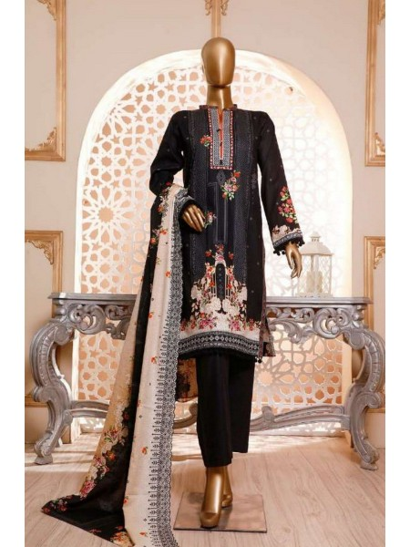 HZ TEXTILE Diamond Unstitched Cambric Embroidered Chantillty Dupatta Collection D-DC-01 Black
