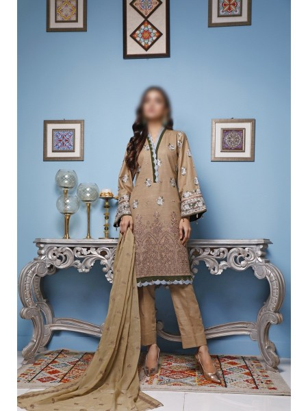 NAFEES SLUB UNSTITCHED EMBROIDERED COLLECTION VOL-01 D-06