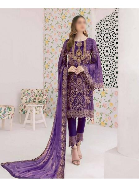 Ramsha Minhal Unstitched Handwork Embroidered Chiffon Collection D-M 306