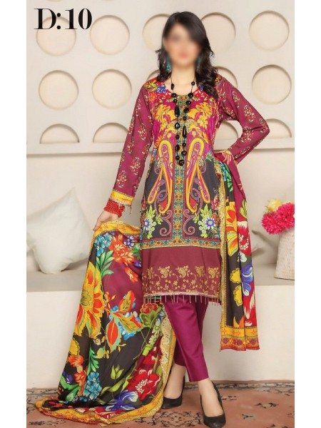 RANGRITI Unstitched Digital Viscose Printed Embroidered Collection D-10