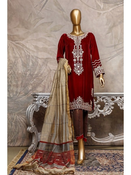 SADABAHAR Stitched Embroidered Velvet Shirt Collection D-201 mahroon