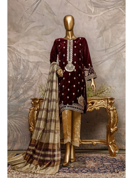 SADABAHAR Stitched Embroidered Velvet Shirt Collection D-202 mahroon