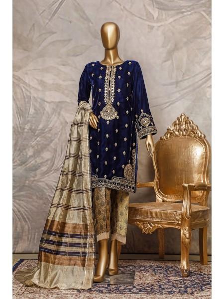 SADABAHAR Stitched Embroidered Velvet Shirt Collection D-202 n.blue