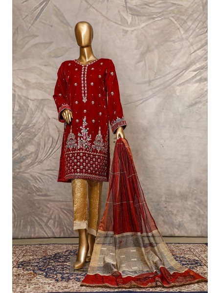 SADABAHAR Stitched Embroidered Velvet Shirt Collection D-203 red