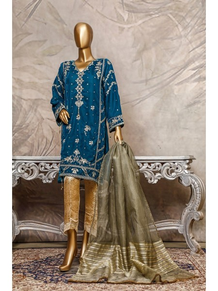 SADABAHAR Stitched Embroidered Velvet Shirt Collection D-205 c.blue