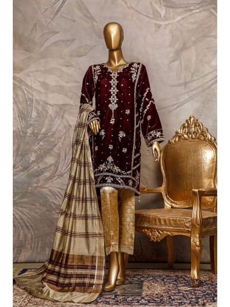 SADABAHAR Stitched Embroidered Velvet Shirt Collection D-205 mahroon