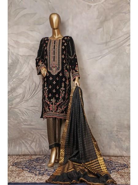 SADABAHAR Stitched Embroidered Velvet Shirt Collection D-206 black