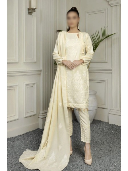 MARJJAN Embroidered Peach Leather Unstitched Collection D-PL-16(Cream)