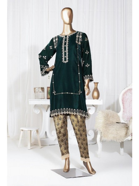SADABAHAR Velvetto Stitched Emb Shirt Collection Vol 3 D-V 212 GREEN
