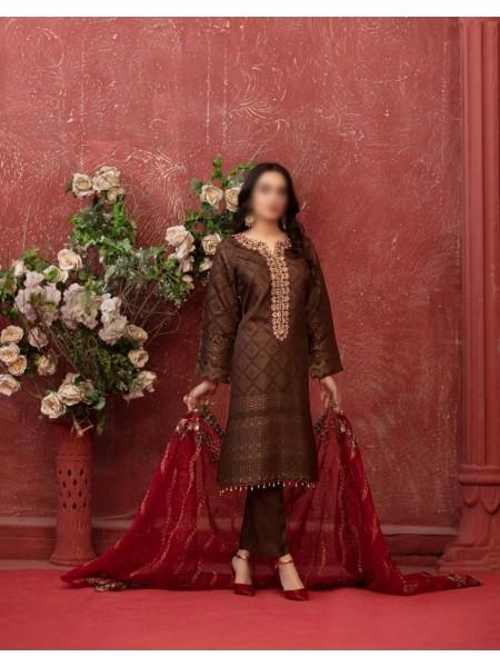 TAWAKKAL Adorned In Grace Unstitched Viscose Broshia Banarsi Collection D-D 9470