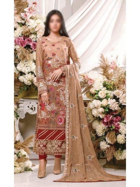 MISCELLANEOUS Dhani Luxury Unstitched Chiffon Embroidered Collection 2021 D-DESIGN 02
