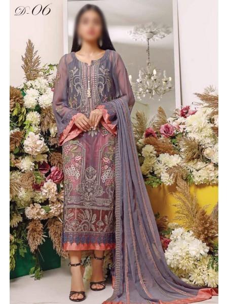 MISCELLANEOUS Dhani Luxury Unstitched Chiffon Embroidered Collection 2021 D-DESIGN 06