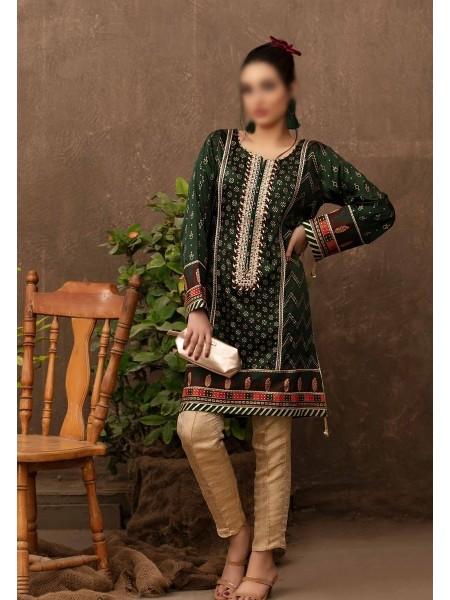 TAWAKKAL FABRICS Amour Stitched Fancy Silk Screen Printed Kurti D-9416