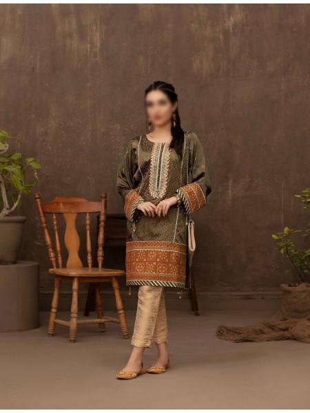 TAWAKKAL FABRICS Amour Stitched Fancy Silk Screen Printed Kurti D-9417