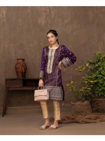 TAWAKKAL FABRICS Amour Stitched Fancy Silk Screen Printed Kurti D-9418