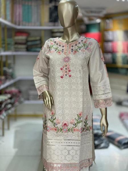 TAWAKKAL Schiffli Embroidered Chikankari RTW Cotton Shirts D-DESIGN 02