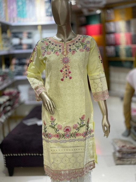 TAWAKKAL Schiffli Embroidered Chikankari RTW Cotton Shirts D-DESIGN 03