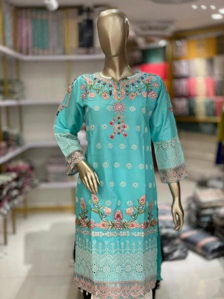 TAWAKKAL Schiffli Embroidered Chikankari RTW Cotton Shirts D-DESIGN 05