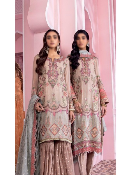 IZNIK BANARAS Unstitch Luxury Chiffon Formal Collection'21 D-02 AMBAR