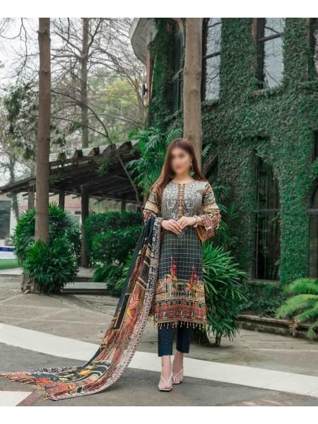 TAWAKKAL FABRICS Ephemeral Love Weaving Zari Check Unstitched Lawn Digital Print Collection D-1024