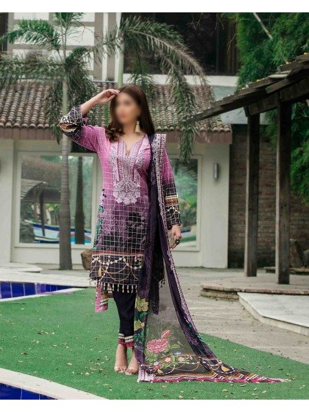 TAWAKKAL FABRICS Ephemeral Love Weaving Zari Check Unstitched Lawn Digital Print Collection D-1025