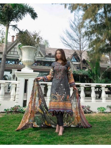 TAWAKKAL FABRICS Ephemeral Love Weaving Zari Check Unstitched Lawn Digital Print Collection D-1028