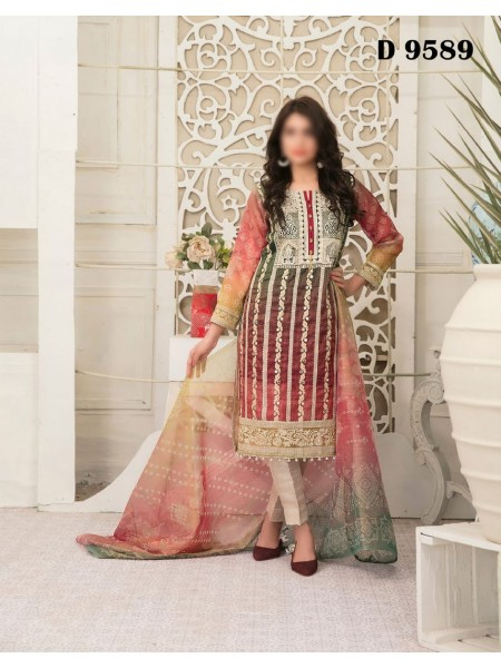 TAWAKKAL FABRICS Redefining Luxury Multi Shaded Chundri Semi Stitched Collection D-9589