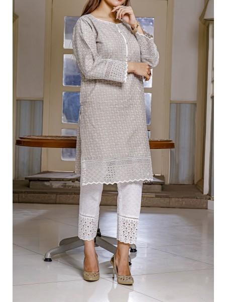 AMNA KHADIJA Chik & Kari Stitched Chikankari Kurti Collection 2021 D-09