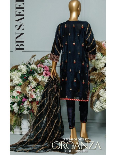Bin Saeed Embroidered Organza Collection D-SPF 007 Black