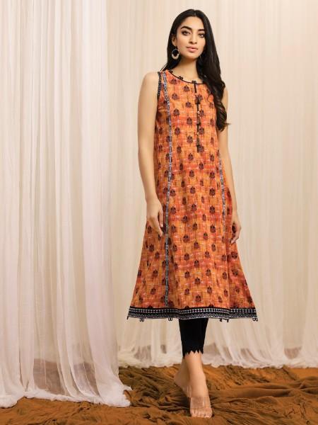 Edenrobe Summer Unstitched Collection EWU21A1-20551 - Orange - 2 Piece