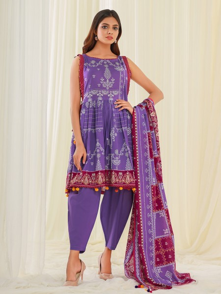 Edenrobe Summer Unstitched Collection EWU21A1-20581 - Purple - 2 Piece