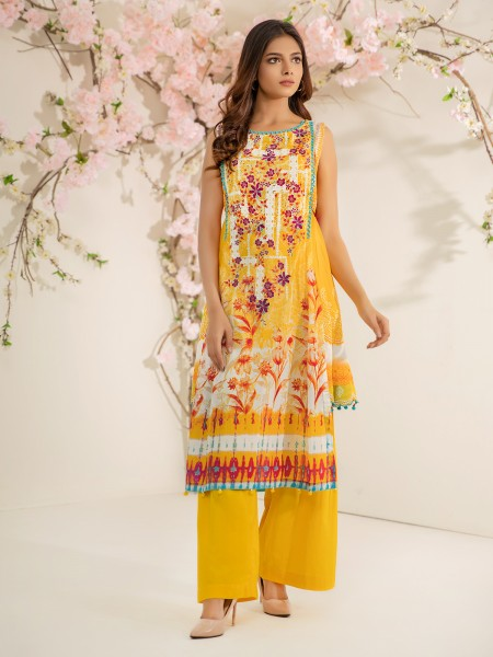 Edenrobe Summer Unstitched Collection EWU21V2-20535 - Yellow - 1 Piece