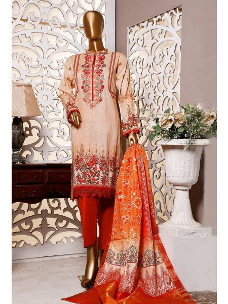 HZ Textile Premium Embroidered Tassel silk Dupatta Collection D-PE-24 - BEIGE n RUST