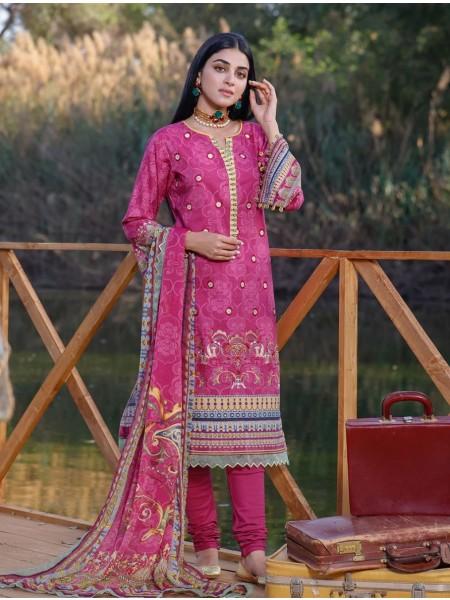 Khas Palwasha 3 Piece Unstitched Embroidered Lawn Suit with Chiffon Dupatta KC-1046