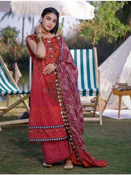 Khas Palwasha 3 Piece Unstitched Embroidered Lawn Suit with Silk Dupatta KSE-1031