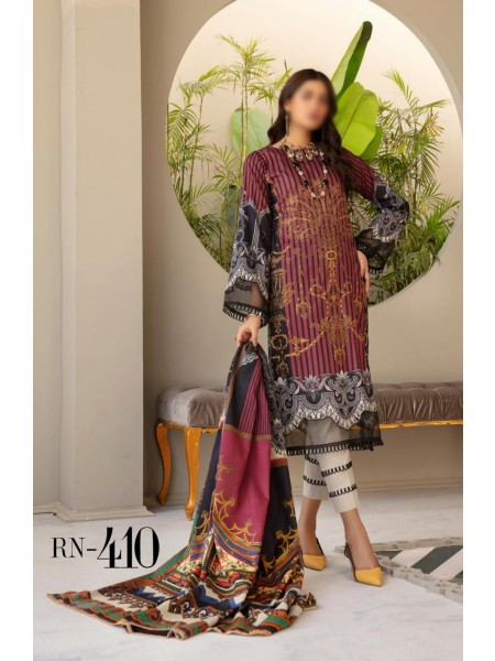 NUR Rang Nagar Unstitched Printed Lawn Collection DRN 410