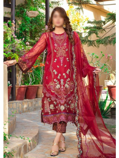 Dhani Luxury Organza Heavy Embroidered Collection D-02