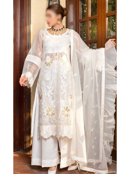 Dhani Luxury Organza Heavy Embroidered Collection D-09