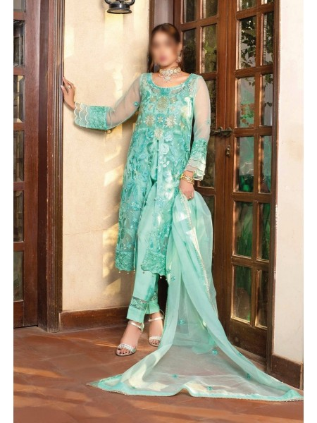 Dhani Luxury Organza Heavy Embroidered Collection D-10