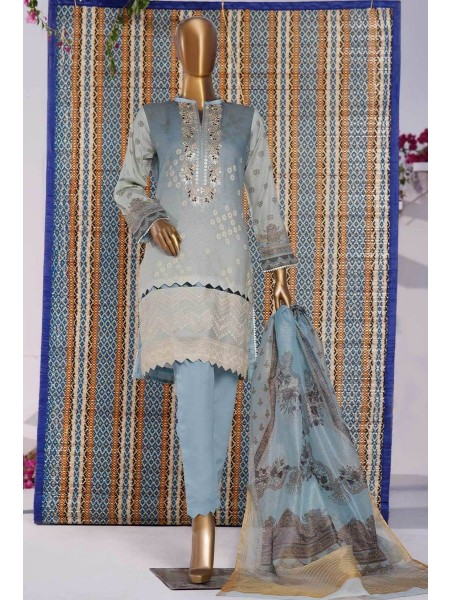 HZ TEXTILE TURKISH ANMOL JACQUARD EMBROIDERED COLLECTION D-TF-01 Sky Blue