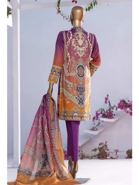 HZ TEXTILE TURKISH ANMOL JACQUARD EMBROIDERED COLLECTION D-TF-03 Purple