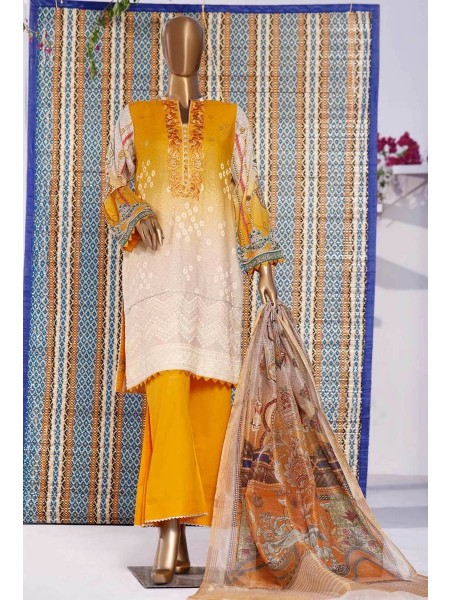 HZ TEXTILE TURKISH ANMOL JACQUARD EMBROIDERED COLLECTION D-TF-07 Mustard