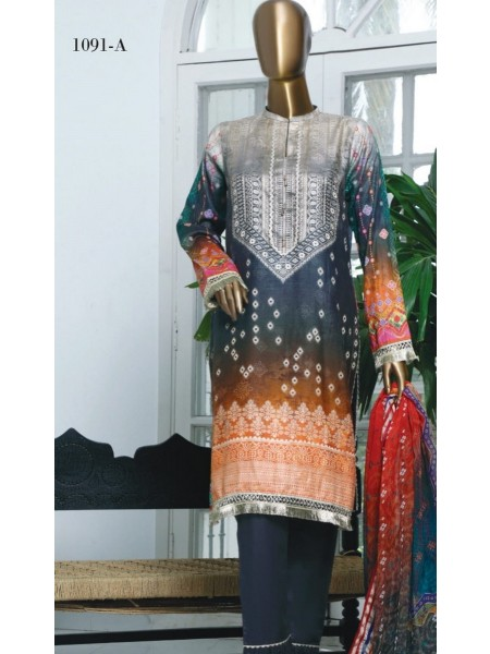 HZ Textile Turkish Chundri Jacquard Unstitched Print S01 TC-1091-A