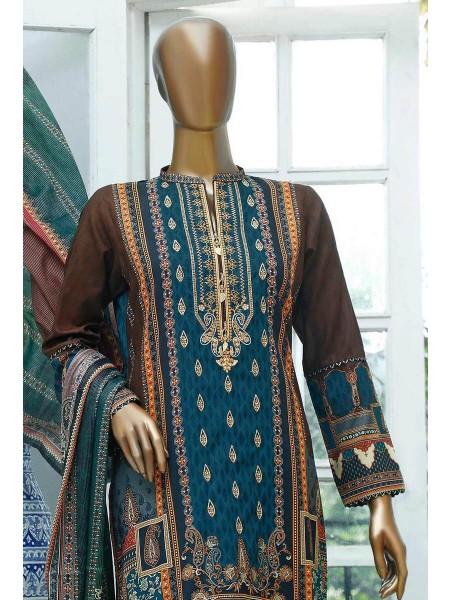 HZ Turkish Gulzar Jacquard Stitched Collection D-1062-B Zink & Brown