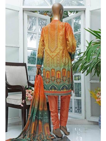 HZ Turkish Gulzar Jacquard Stitched Collection D-1063-B Orange & Green